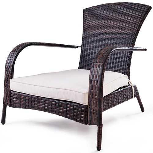 Outdoor Wicker Rattan Porch Deck Adirondack Chair w/ Cushion