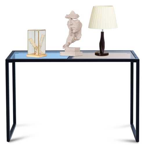 Hallway Entryway Console Table with Tempered Glass Top