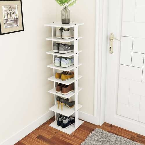 Wooden Shoebox Stand 7 Tiers Shoe Rack Organizer