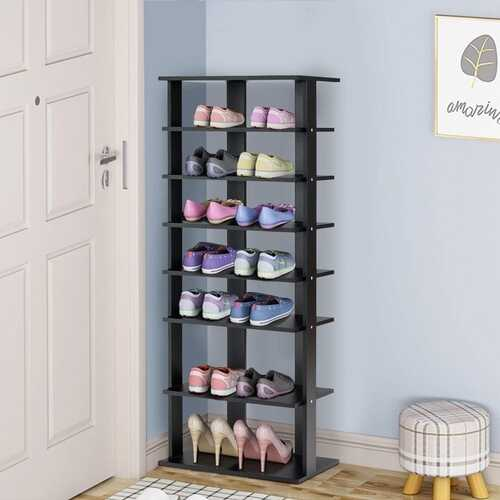 7-Tier Dual Shoe Rack Free Standing Shelves Storage Shelves Concise-Black
