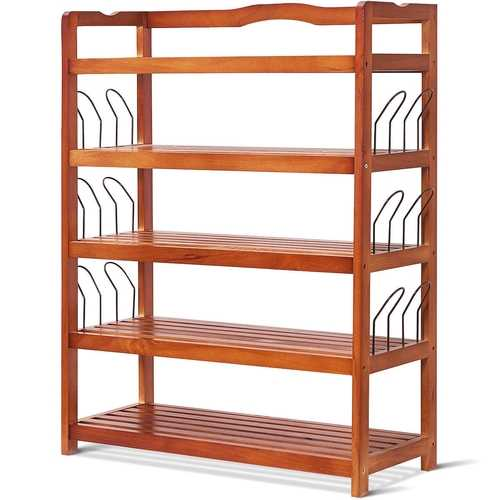 5-Tier Wooden Entryway Storage Shoe Rack with 6 Shoe Stretchers