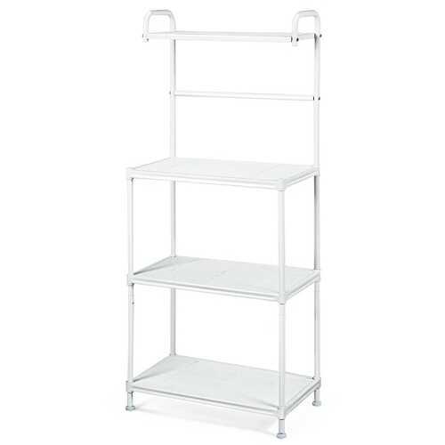 4-Tier Kitchen Storage Baker Microwave Oven Rack Shelves-White