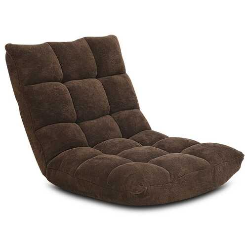 Adjustable 14-position Cushioned Floor Chair-Coffee