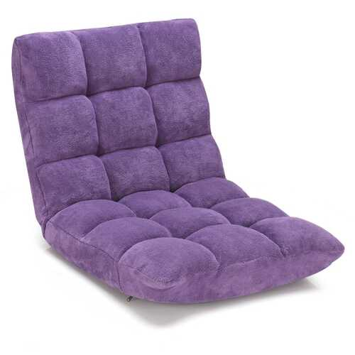 Adjustable 14-position Cushioned Floor Chair-Purple