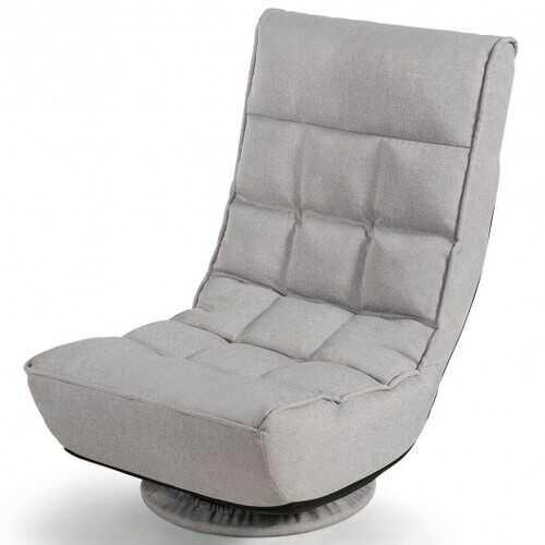 4-Position Adjustable 360 Degree Swivel Folding Floor Sofa Chair-Gray