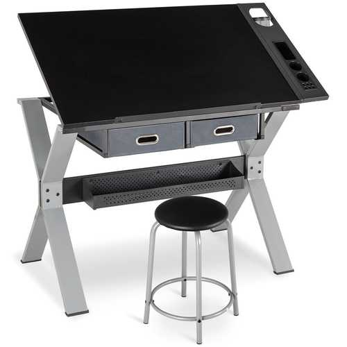 Adjustable Tiltable Drafting Table Drawing Desk with Stool and Drawer