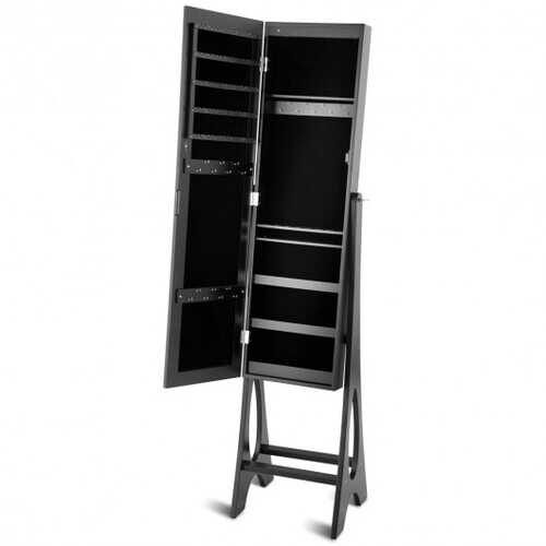 LED Jewelry Cabinet Armoire Organizer with Bevel Edge Mirror-Black