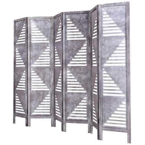 6 Panel Wood Folding Freestanding Hollow-out Designed Room Divider
