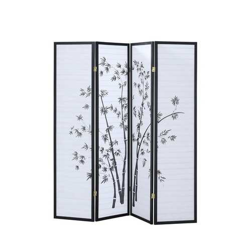 4 Panel Folding Modern Japan Shoji Room Divider Screen /w Pine Wood Frame