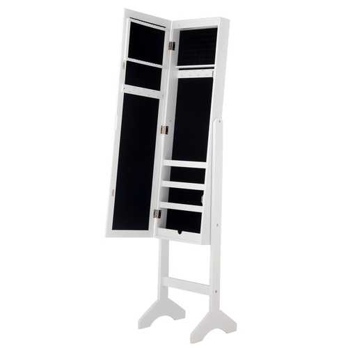 Modern LED Lights Mirrored Jewelry Storage Cabinet with Stand