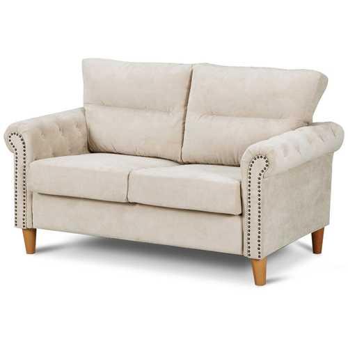 Modern Upholstered 2-Seater Nailhead Linen Fabric Sofa