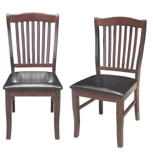 Set of 2 Armless Slat Back PU Leather Dining Chairs