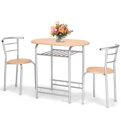 3 pcs Home Bistro Table and 2 Chairs Dining Set