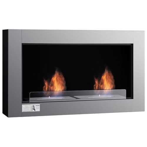 """38"""" Wall Mounted Bio-Ethanol Ventless Dual Burner Fireplace"""