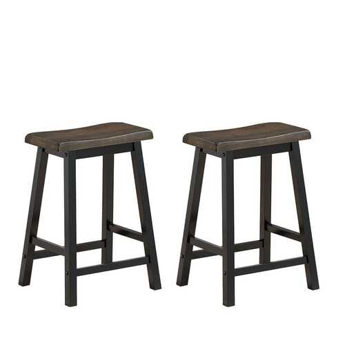 "24"" Height Set of 2 Home Kitchen Dining Room Bar Stools-Brown"