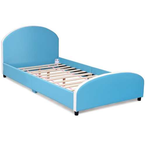 Kids Children PU Upholstered Platform Wooden Princess Bed