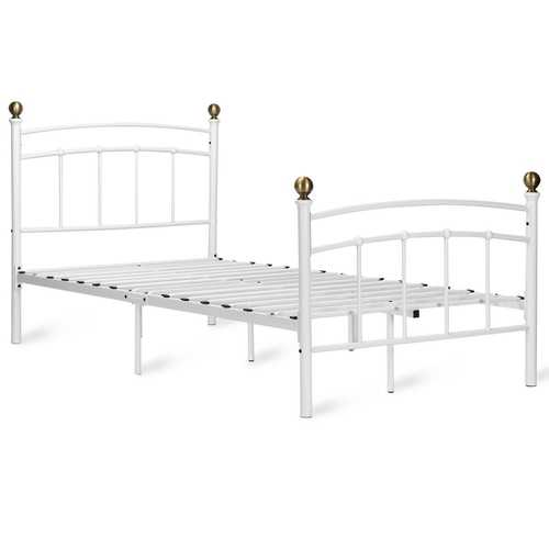 "12"" Twin Size Metal Bed Frame with Metal Slat Support"