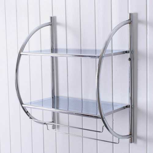 2-Tier Wall Mount Shower Organizer Towel Storage Rack