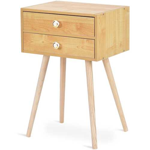 Mid Century Modern 2 Drawers Nightstand in Natural