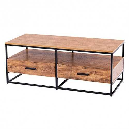 """47"""" 2-Tier Cocktail 2 Drawer Coffee Table Metal Desk"""