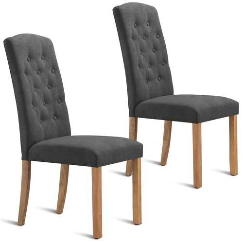 Set of 2 Dining Side Chairs with Wooden Legs