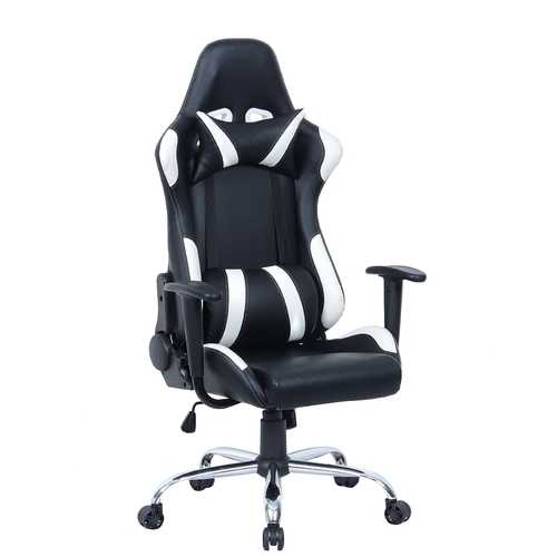 Black and White Gaming Chair with Head-Rest Pillow