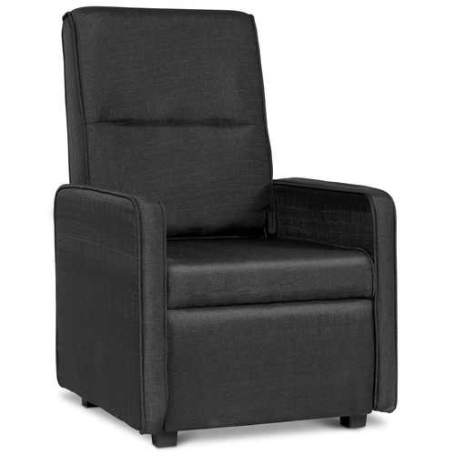 Manual Single Foldable-Back Accent Sofa Armchair with Footrest