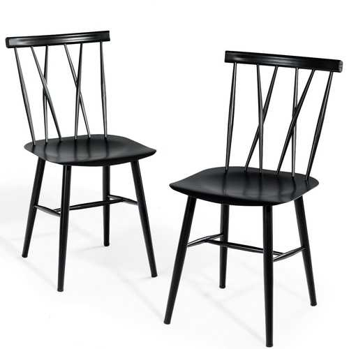 Set of 2 Armless Cross Back Kitchen Dining Side Chairs