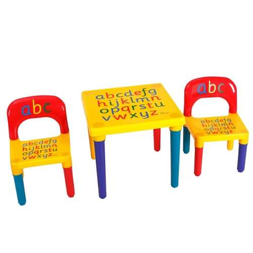 Letter Kids Table & Chairs Play Set Toddler Child Toy