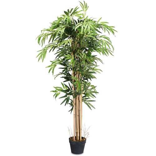 5-Feet Artificial Bamboo Silk Tree Indoor-Outdoor Decorative Planter