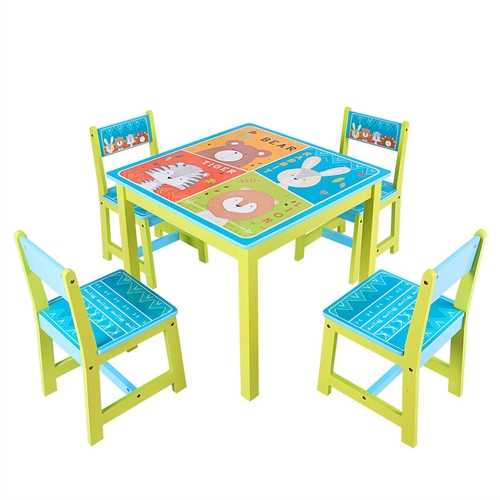 Kids Table and Chairs Set for Toddler Baby Furniture with Cartoon Pattern