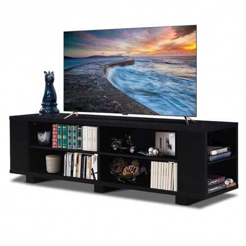 """59"""" Console Storage Entertainment Media Wood TV Stand-Black"""