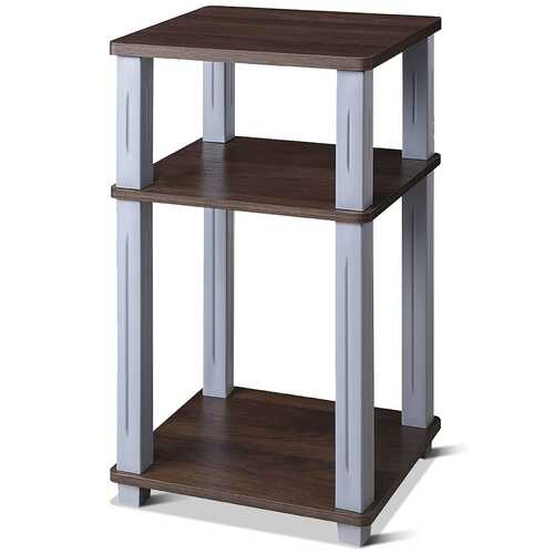 3 Tier End Table Multipurpose Shelf Night Stand Display Shelving-Coffee