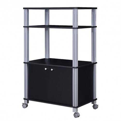 Microwave Rack Stand Rolling Storage Cart-Black