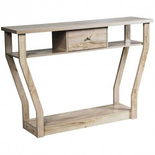Modern Sofa Accent Table with Drawer-Gray