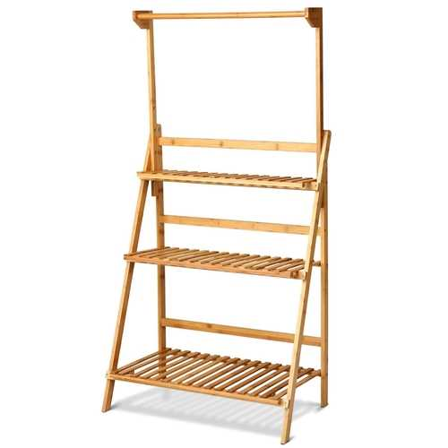 3 Tiers Bamboo Hanging Folding Plant Shelf Stand