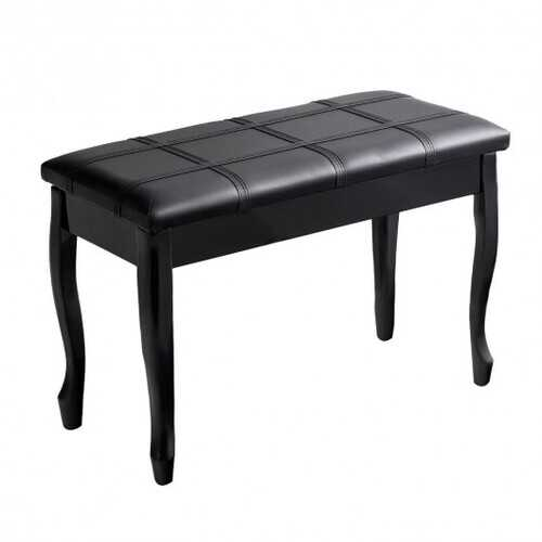 Solid Wood PU Leather Piano Bench with Storage-Black - Color: Black