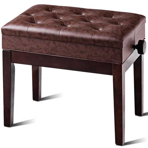 PU Leather Height Adjustable Piano Bench with Music Storage