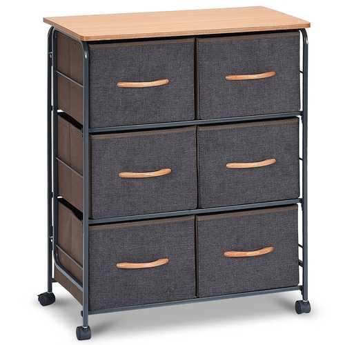 6-Drawer Fabric Display Dresser Storage Cabinet with Wheels