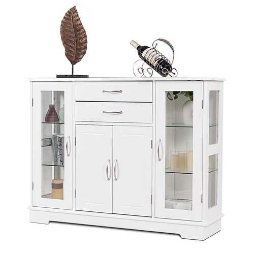 Buffet Storage Cabinet Console Cupboard with Glass Door