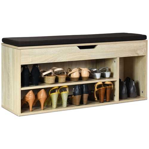 Wooden Rack Shoes Bench with Storage Upholstered Shoe Rack