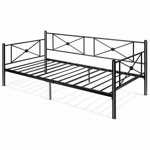 Metal Daybed Twin Bed Frame Stable Steel Slats Bed Sofa