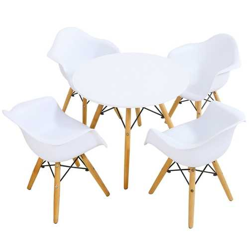 5 Piece Kids Modern Round Table Chair Set
