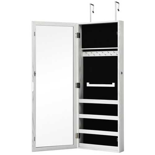 Lockable Armoire Mounted Mirrored Jewelry Cabinet