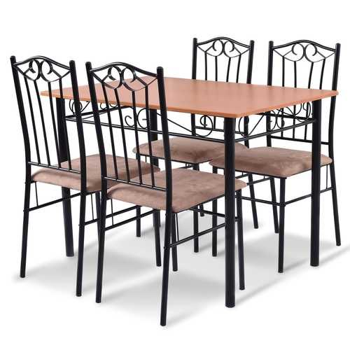 5 pcs Dining Set Wooden Table and 4 Cushioned Chairs