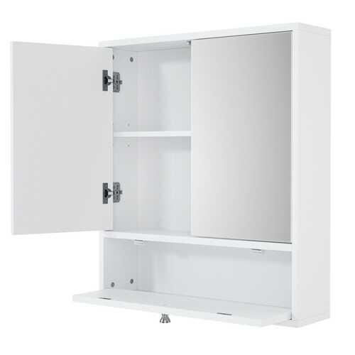 Bathroom Double Mirror Door Wall Mount Storage Wood Cabinet