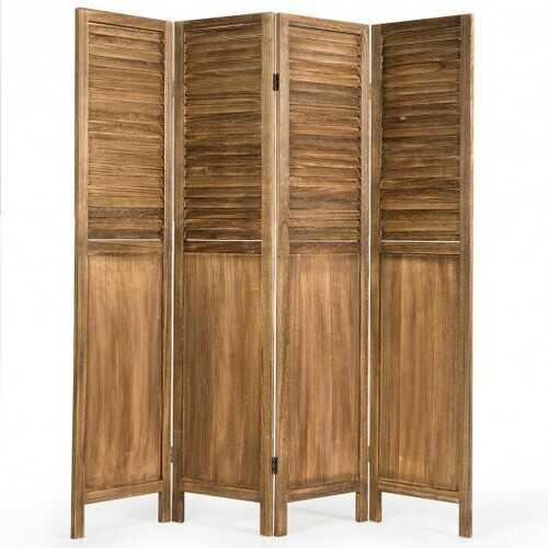 5.6 Ft Tall 4 Panel Folding Privacy Room Divider-Wood - Color: Wood