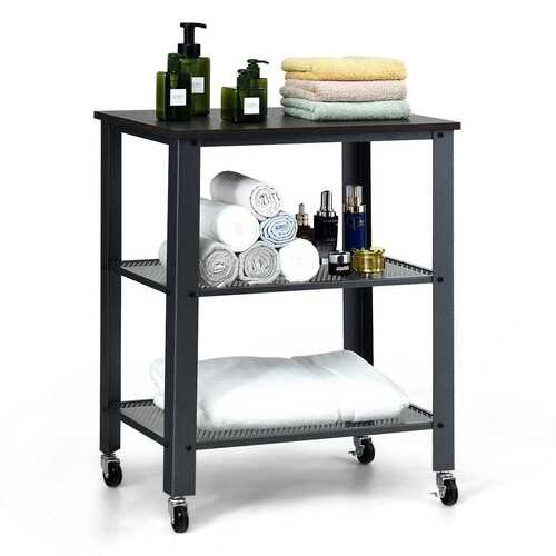 3-Tier Kitchen Utility  Industrial Cart with Storage-Black