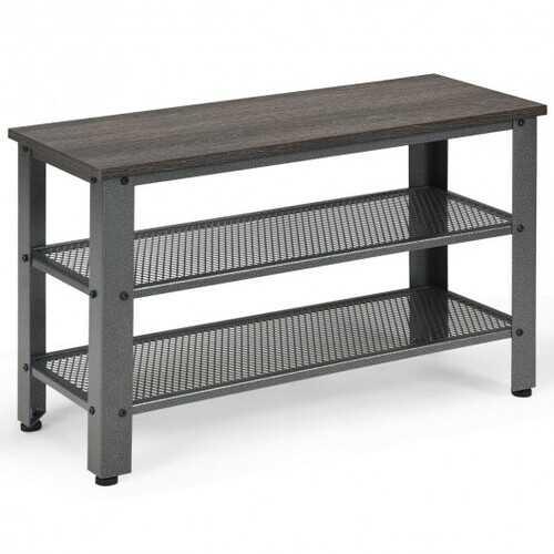 3-Tier Shoe Rack Industrial Shoe Bench with Storage Shelves-Black
