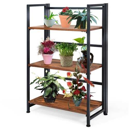 3-Tier Portable Display Folding Bookshelf Storage Shelf-Black
